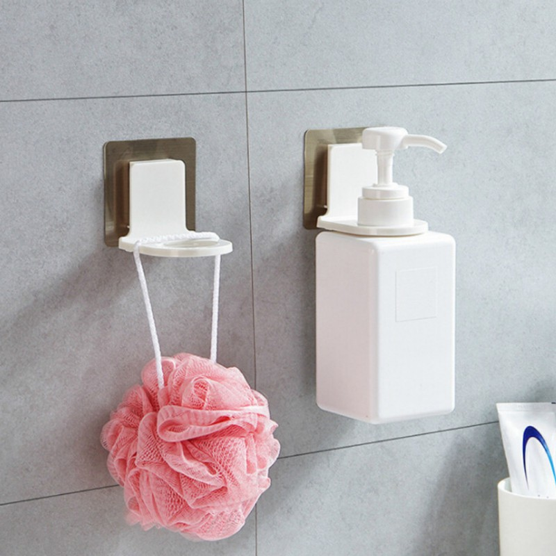 Magic Sticky Bathroom Wall Shampoo Organizer Hook Repeat Use Shower Soap Bottle Hanging Holder