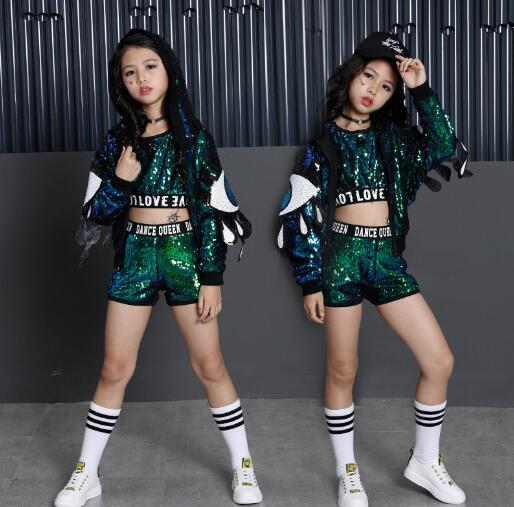 Children Jazz Hip Hop Dance Clothes Modern Fashion Stage Ballroom Kids Sequins Dancing Costumes Girls sports Suit Outfits kids hip hop dance costumes girls long sleeve sports suit children jazz hip hop dance clothes wear for girl 6 8 10 12 years