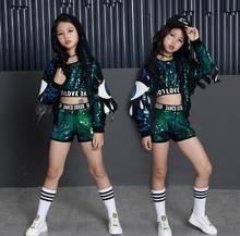 купить Children Jazz Hip Hop Dance Clothes Modern Fashion Stage Ballroom Kids Sequins Dancing Costumes Girls sports Suit Outfits по цене 2241.82 рублей