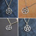 2Pcs Fashion Unisex Star Circle Pentagram Pendant Necklace Couple Xmas Gift