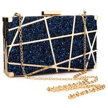 купить Gold Sequin Chain Bag Design Women Pvc Evening Clutches Bags Small Party Handbags Purse Wedding Box Shoulder Bags Female Bolsa по цене 1419.86 рублей