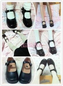 Image 3 - Милая женская обувь для косплея Алисы в стране чудес Лолита горничная с круглым носком японская школьная форма Мария Джейн на плоской подошве Uwabaki