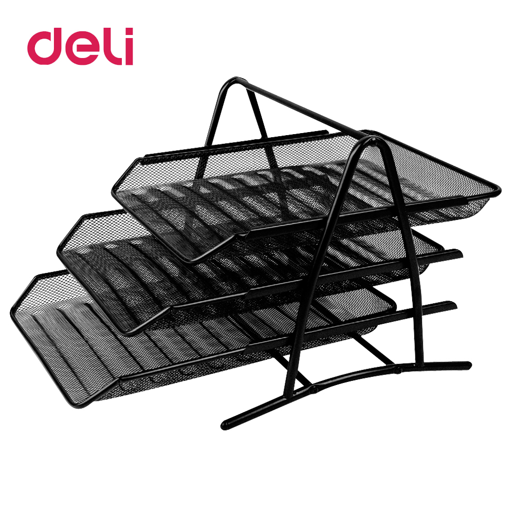 Deli File trays three layers file box data box office desk office supplies metal document Deli File trays three layers file box data box office desk office supplies metal document