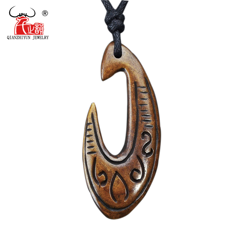GX040 New Zealand Maori jewelry hand-carved yak bone Fish Hook pendant Primitive tribes totem amulet handmade jewelry for surf