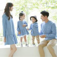 Family Matching Clothes New 2018 Autumn Spring Mom and Daughter Denim Dress Father and Son Shirt Cotton Matching Outfits QZ074