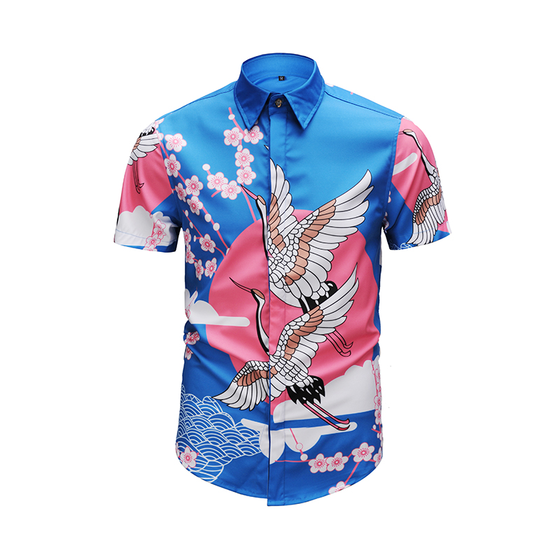Verdadera 2018 bosque elemento flores pájaro camisas hombres de manga corta  de verano hip hop party f473cec21a6