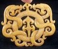 Chino viejo trabajo hecho a mano tallada JADE DRAGON amarillo pendiente envío gratis