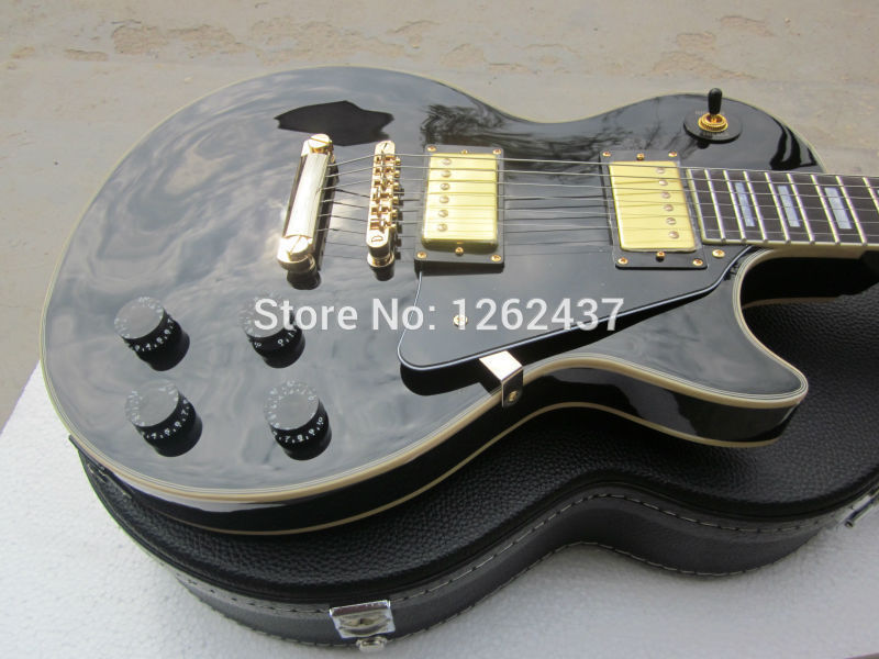 free Shipping 2014 New Gib Lp Custom Black Color Electric Guitar/gold Accessories/ebony Fingerboard/oem Brand Guitar In China china electric guitar lp custom black beauty solid body gold parts musical instruments free shipping