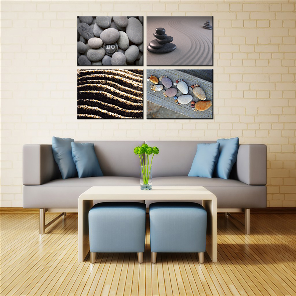 unidades casa costera pintura decorativa lienzo decoracin de la pared de arena y piedra zen