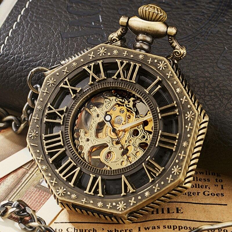 Vintage Skeleton Steampunk Mechanical Pocket Watch Polygon Hollow Bronze Silver China Pendant Clock Hand Wind Women Men Gift Box