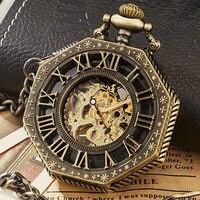 Vintage Skeleton Steampunk Mechanische Horloge Polygon Hollow Brons Zilver China Hanger Klok Hand Wind Vrouwen Mannen Geschenkdoos