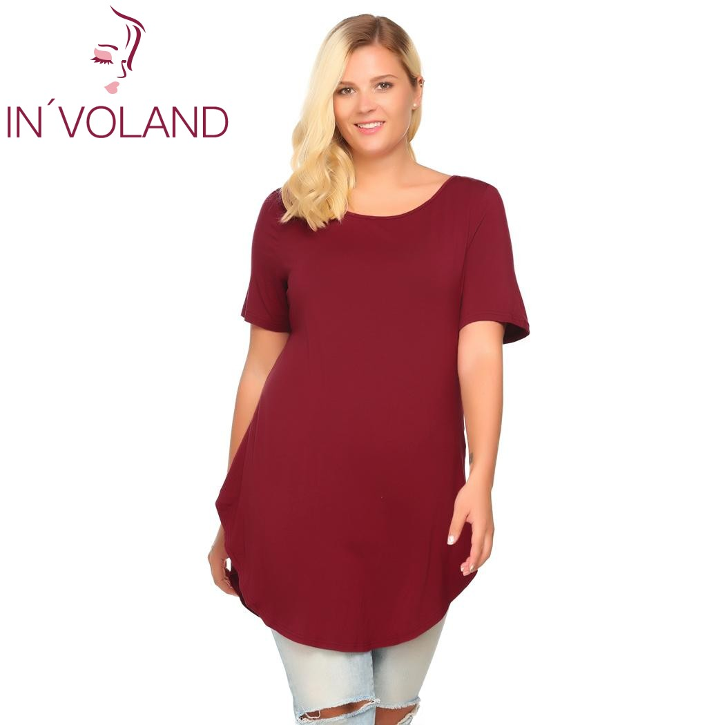IN'VOLAND Casual T-Shirt Women Plus Size Summer Autumn Short Sleeve Solid Loose Pullovers Long Curved Hem Tshirt Tops Big Sized