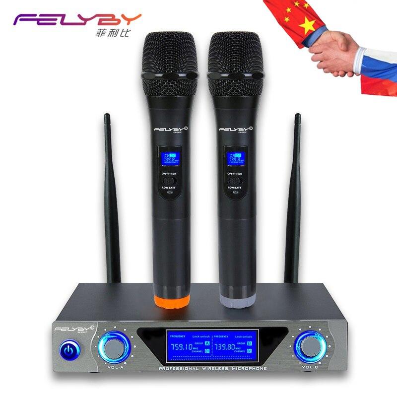 FELYBY Professionnel 2 Canaux Studio Double VHF Sans Fil De Poche Karaoké Microphone À Condensateur pour TV DVD Ordinateur ou Haut-Parleur