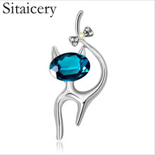 Sitaicery Cool Cat Brooch Cute Rhinestone Enamel Pins For Women 2019 New Fashion Jewelry Garment Collar Accessories Gift