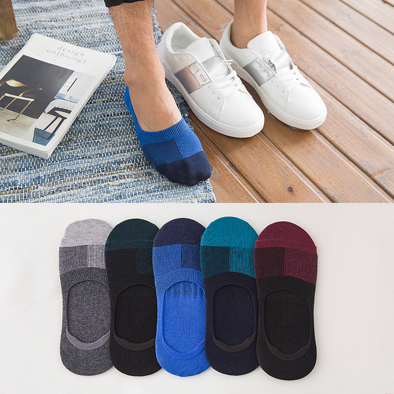 Men Ankle Socks Summer Invisible Non-slip Male Low Cut Boat Socks Cotton Stretchy Fashion Slippers Shallow Mouth Socks Meias