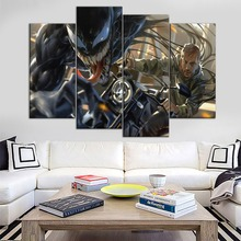 Modern Wall Art Painting 4 Piece Modular Combinatorial Style Tom Hardy As Eddie Brock In Venom Picture For Bedroom Decor Print