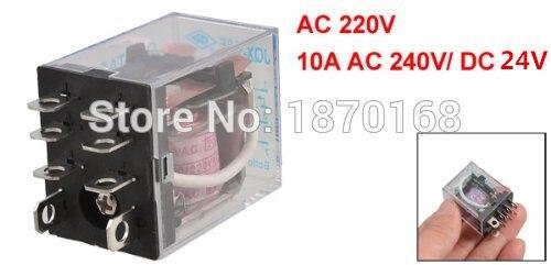 mxuteuk Lot de 2 bobines JQX-13FL AC 12 V AC24 V AC220 V DC12 V DC24 V 8 broches 10 A DPDT Indicateur /électromagn/étique avec base de haute qualit/é avec rail DIN en aluminium au choix