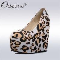 Odetina 2017 Fashion Women Platform Wedges Pumps Super Leopard High Heels Round Toe Slip On Female