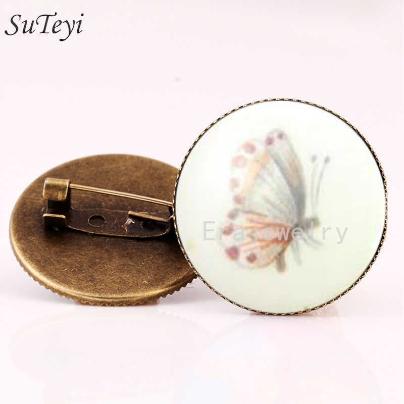 SUTEYI Porcelain White and Pink Butterfly Brooch Pin Vintage Glass Cabochon Brooches For Women Wedding Brooch Jewelry BG67