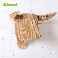 1 Set 9 Colors 25 Inch 5mm MDF Wooden Animals Head Creative Bull Head Wall Hanging