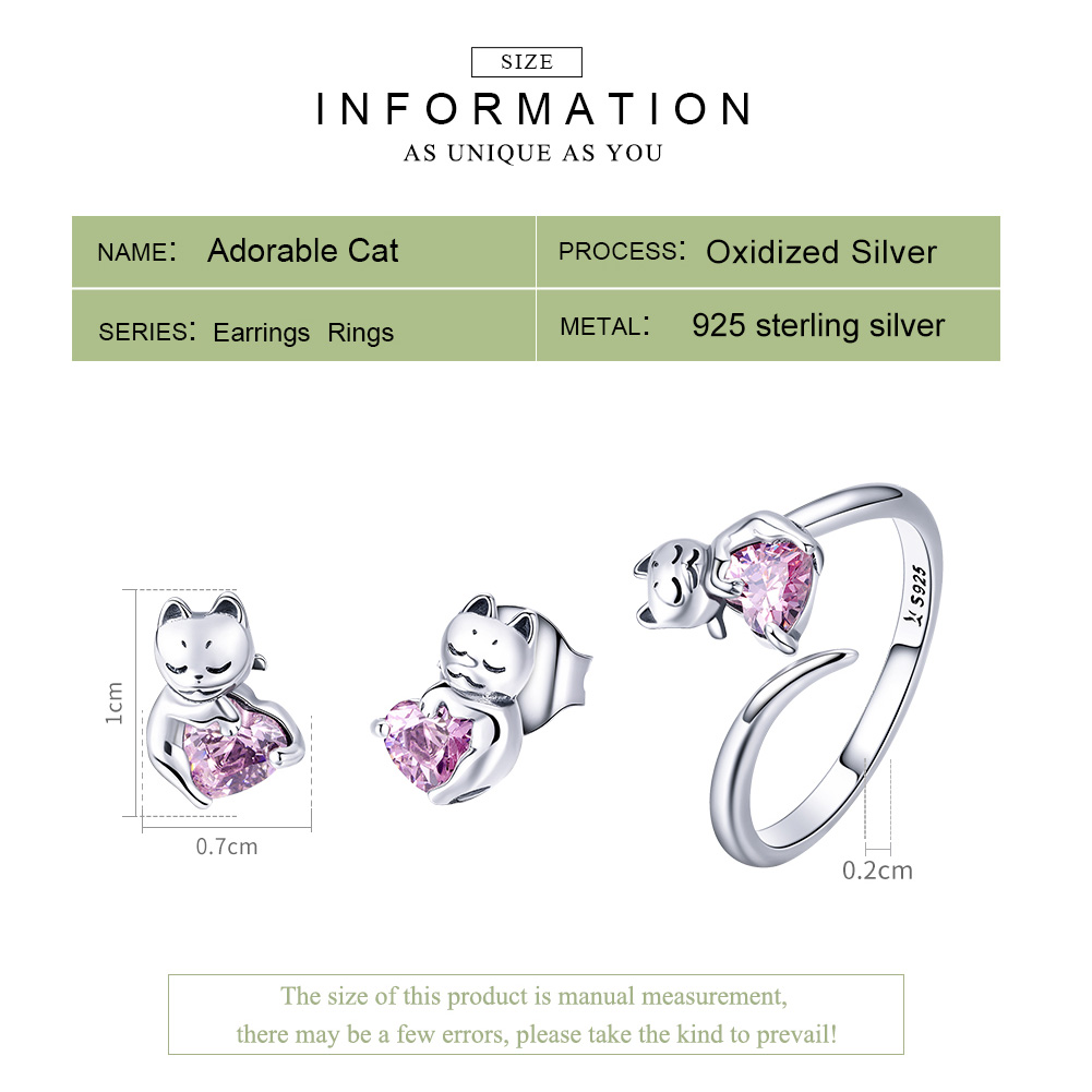 BAMOER Authentic 925 Sterling Silver Cute Cat Pussy Pink CZ Rings & Earrings Jewelry Sets Fashion Sterling Silver Jewelry Set  My Pet World Store