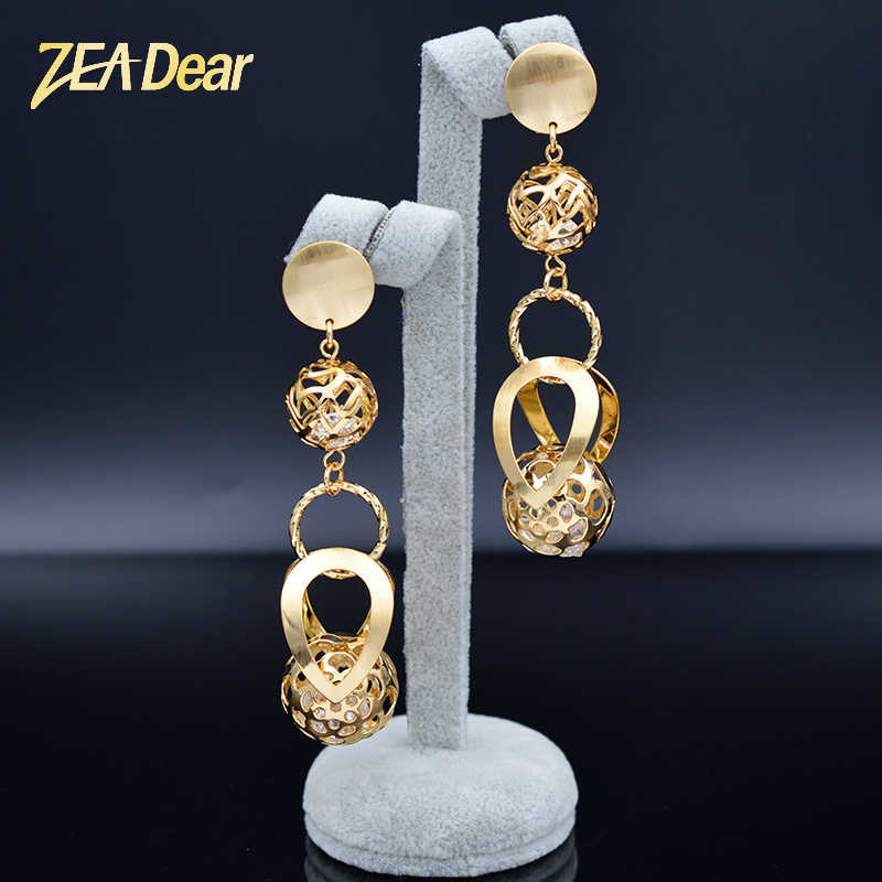 ZEADear Jewelry Vintage Jewelry Earrings For Women Long Drop Dangle Cubic Zirconia Hollow Ball Earrings For Party Daily Jewelry