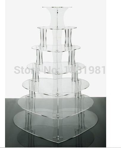 Le Cupcake acrylique de coeur de 7 niveaux tient le support de gâteau de tasse les supports de Cupcake de Cheerico