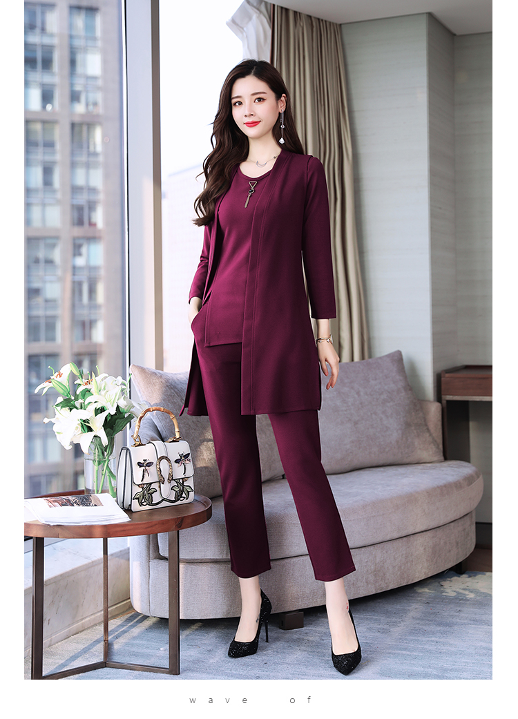 Spring Autumn 3 Piece Set Women Long Coat T-shirt And Pants Sets Casual Elegant Three Piece Sets Suits Women's Costumes 44