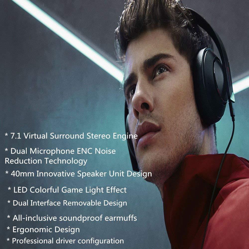 Original Xiaomi juego de auriculares 7,1 Sonido Envolvente Virtual estéreo 3,5 MM USB Gaming auriculares con micrófono LED luz 40MM altavoz ENC - 4