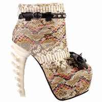 LF80653 Punk Black White Snake Skin Effect High-top Bone High Heel Platform Ankle Boots