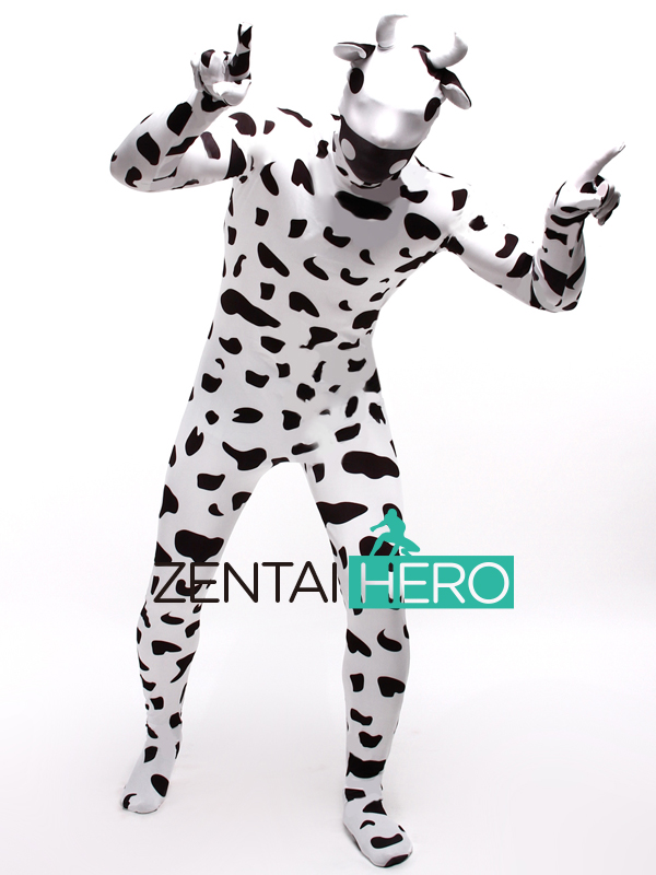 Free Shipping DHL Printing Lycra Cow Design Full Bodysuit Special Lycra Animal Cosplay Zentai Halloween Events Costume LZ112232