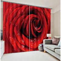 Red rose 3D Blackout Window Curtains For Living room Bedding room Hotel/Office Curtain Drapes Cortinas para sala