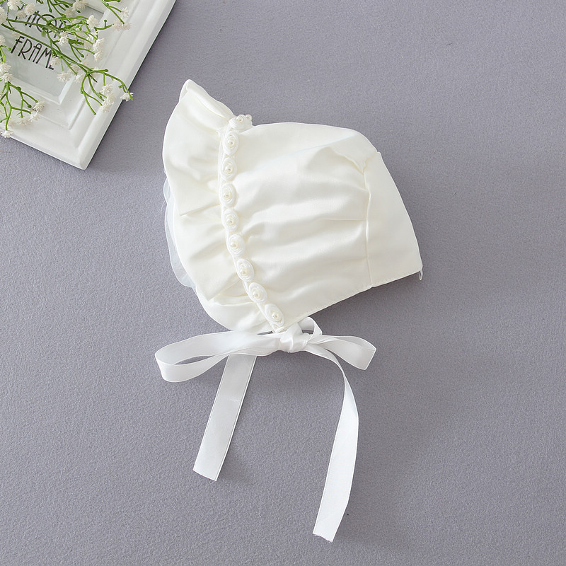 Infant Baby Girls Rose Bonnet Princess Satin Ruffled Sun Hat Beanie Cap Ivory