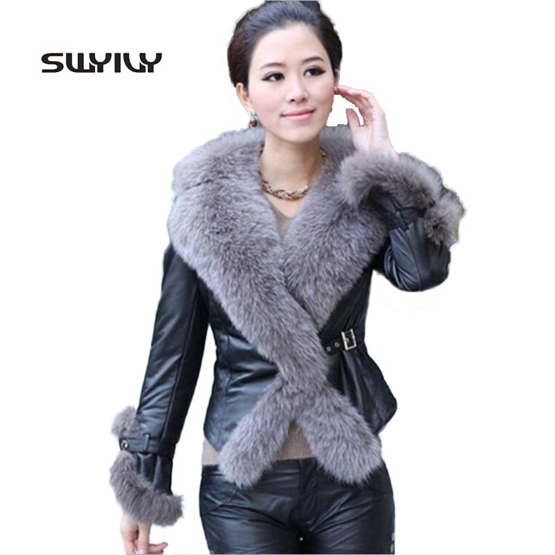 Pieles de animales collar de cuero Delgado coat mujeres vintage invierno  Chaquetas 2017 elegante impermeable abrigo negro tamaño grande 4xl con  cintura 0f65221c164d