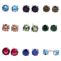 New Fashion Round Cut Shinning Multi Color Stone Jewelry 925 Silver Women Stud Earrings Apollonian Style Whlesale Free Shipping