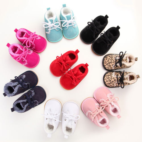 US Stock Newborn Infant Baby Boy Girl Crib Lace Up Shoes Toddler Prewalker Boots