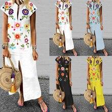 Plus Size Print Maxi Dress Women's Summer Sundress 2019 ZANZEA Female V Neck Long Vestisos Short Sleeve Split Robe Femme