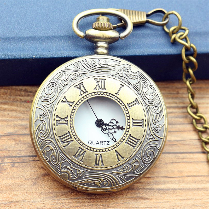 Antique Vintage Bronze Roman Number Necklace Quartz Pocket Watch Chain women and men gun color poket watch birthday gift men s antique bronze retro vintage dad pocket watch quartz with chain gift promotion new arrivals