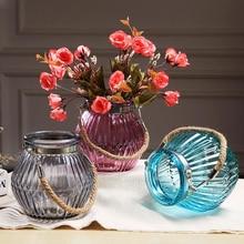 European Modern minimalist transparent glass vase stripe home decorative floral bottle with ribbon wedding decor