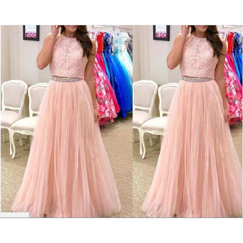 Blush Pink Two Piece   Prom     Dresses   Long 2019 Abiti Da Cerimonia Da Sera Applique Lace Imported Party   Dress   Formal Evening Gowns