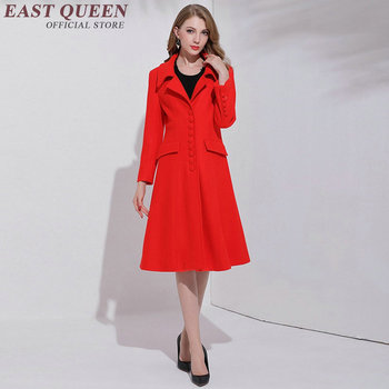 Trench coat for women Winter style women trenchcoat red long sleeve Business clothing    AA3118 Y
