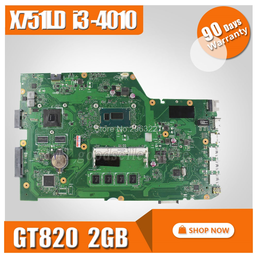X751LD Motherboard REV:2.0 I3-4010 GT820 DDR3 For ASUS R752L X751L X751LN Laptop motherboard X751LD Mainboard X751LD Motherboard original x751ld rev 2 0 for asus x751ln x751lj k751l laptop motherboard ddr3 with i7 4710 cpu 4gb ram mainboard 100% tested