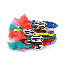 Alloy Sea Shell Tassel Natural Stone Beads Boho Bracelet for Women Men Jewelry Fashion Accessory pulseras mujer(China)
