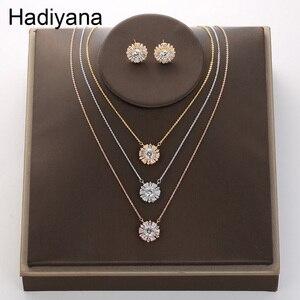 Hadiyana, гладкий минималистичный Круглый Женский комплект, блестящие вечерние серьги со снежинками и кулон, набор, подарок на день Святого Вал...