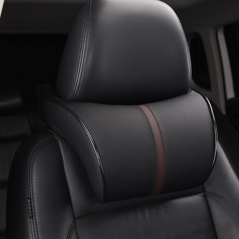 Adjustable Car Headrest Neck Pillow Leahter Auto Neck