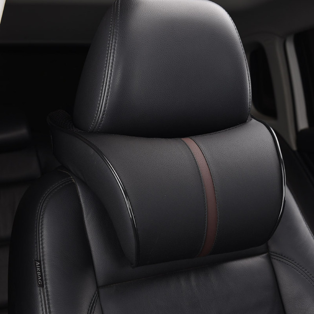 Adjustable Car Headrest Neck Pillow Leahter Auto Neck Protection Rest Pillows For Seat Waist Supports Cushion Memory Cotton