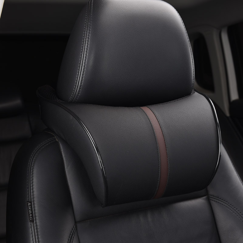 Adjustable Car Headrest Pillow Set Leather Auto Neck Protection Rest Pillows Seat Waist Supports Lumbar Cushion Memory Cotton