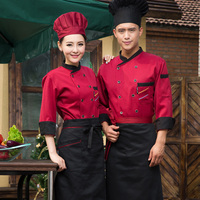 2018 winter Hotel Chef Jacket Food Service full Sleeved Restauant Chef Uniform Double Breasted Chef Clothing Kitchen Cook Wear