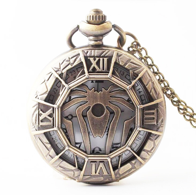 (1118) New Large Spider Fantasy Steampunk Goth Antique Bronze Pocket Watch Neckl