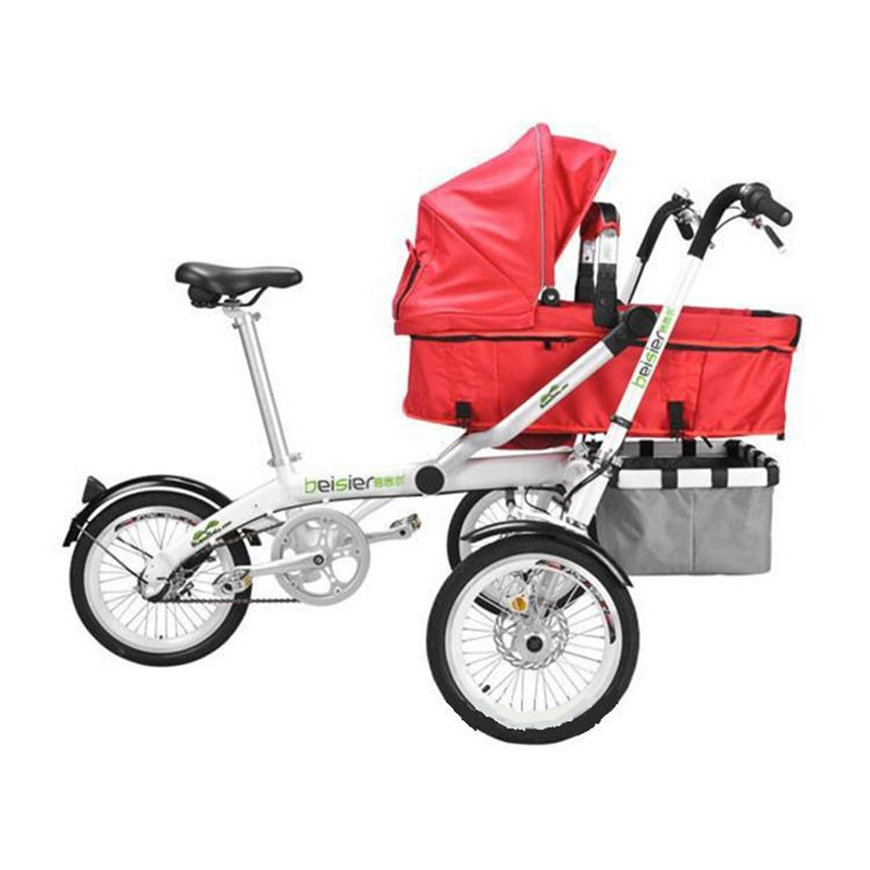 For Ta Ga Baby Mother Bike Stroller Folding Strollers Child Bike Strollers Kid Mom Bicycle Stroller Pram Tricycle Aluminum Alloy children ride on toys balance bike three wheels tricycle for kid bicycle baby walker for 1 to 3 years old child best gift